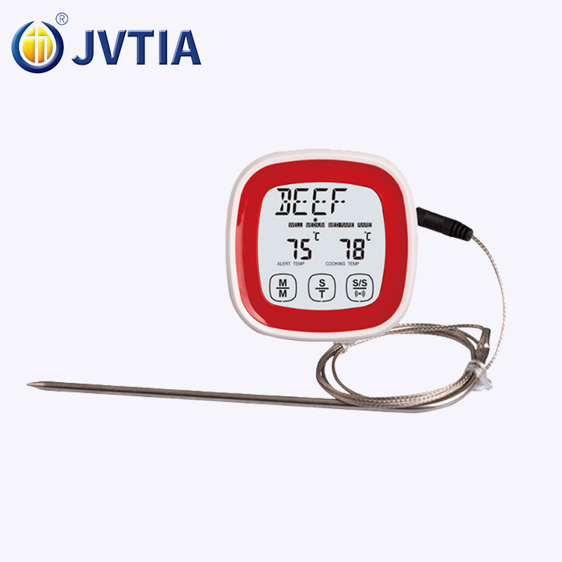 Amazon hotsale touch screen kitchen food digital display barbecue thermometer timer barbecue fork